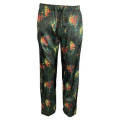 DRIES VAN NOTEN Size 34 Black & Green Abstract Floral Viscose Casual Pants