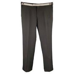 DRIES VAN NOTEN Size 34 Black & Silver Wool Zip Fly Dress Pants