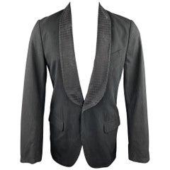 DRIES VAN NOTEN Size 36 Black on Black Stripe Cotton / Rayon Sport Coat Jacket