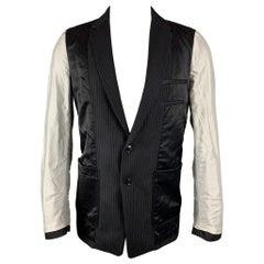 DRIES VAN NOTEN Size 38 Navy & Grey Patchwork Wool Jacket