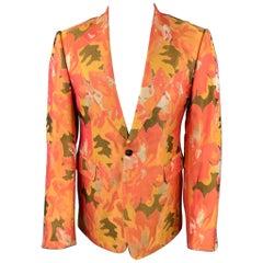 DRIES VAN NOTEN Size 38 Orange & Olive Metallic Jacquard Notch Lapel Sport Coat
