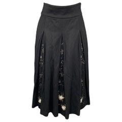DRIES VAN NOTEN Size 4 Black Sequined Wool Blend Pleated Skirt