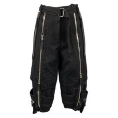 DRIES VAN NOTEN Size 4 Black Wool / Cotton Cropped Belted Casual Pants