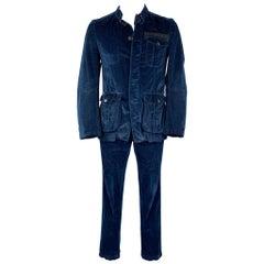 DRIES VAN NOTEN Size 40 Blue Cotton Patch Pocket Nehru Collar Set