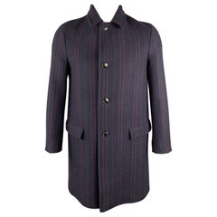 DRIES VAN NOTEN Size 40 Navy & Burgundy Stripe Wool Buttoned Flap Pockets Coat