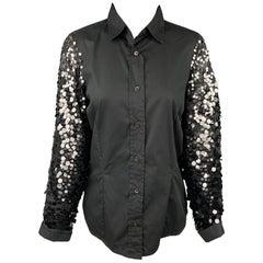 DRIES VAN NOTEN Size 6 Black Cotton / Silk Sequined Sleeves Blouse