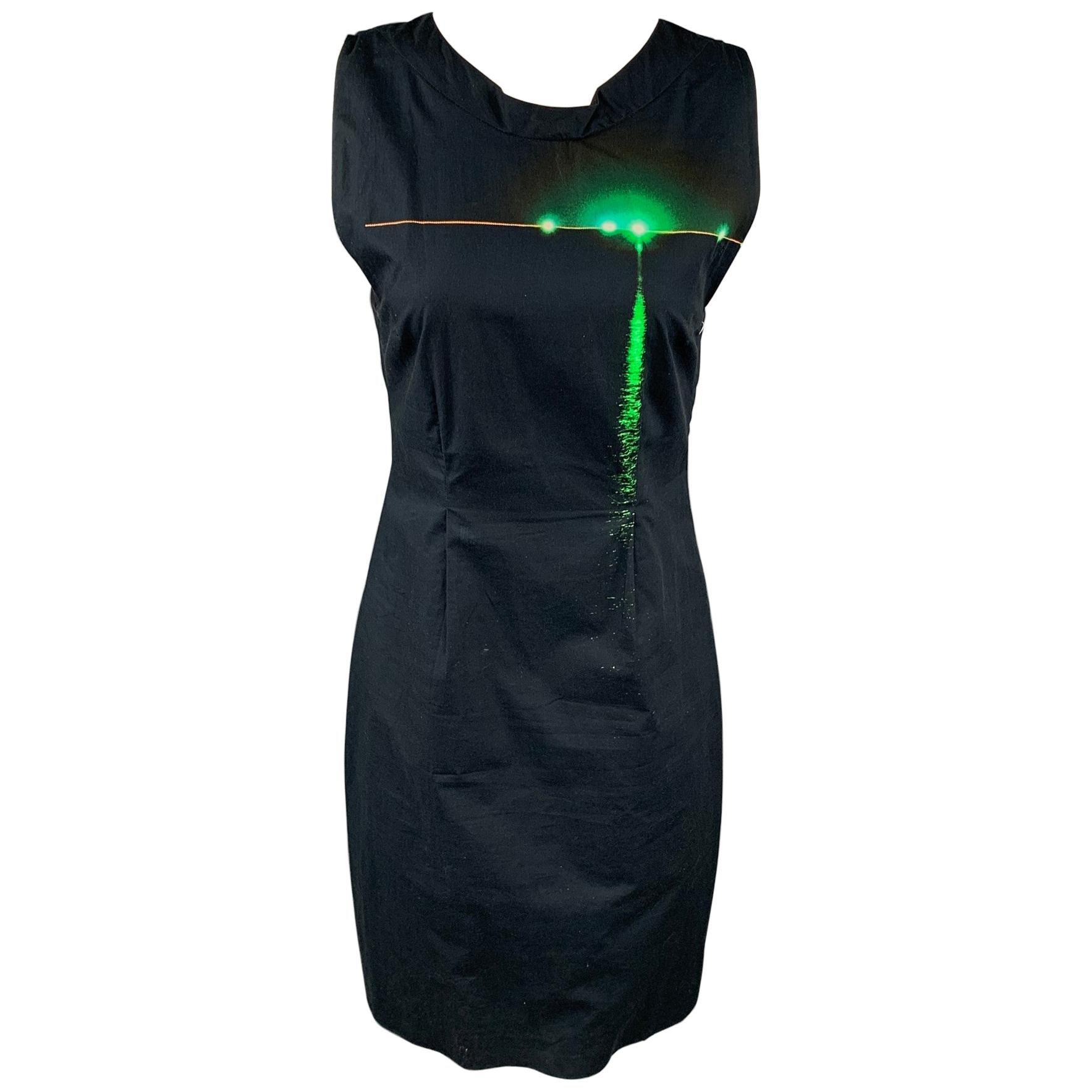 DRIES VAN NOTEN Size 6 Black & Green Poplin Cotton Shift Dress