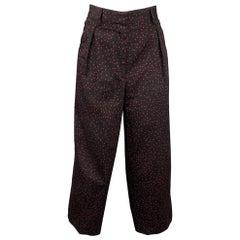 DRIES VAN NOTEN Size 6 Black & Red Star Print Cotton Wide Leg Dress Pants