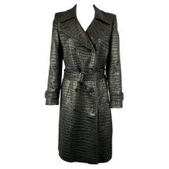 DRIES VAN NOTEN Size 6 Black Textured Acetate Blend Belted Trench Coat