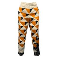 DRIES VAN NOTEN Size 6 Cream & Mustard Cotton / Viscose Fitted Dress Pants