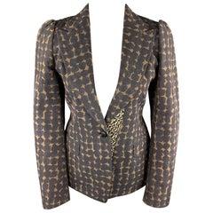 DRIES VAN NOTEN Size 6 Dark Gray & Tan Cotton / Rayon Peak Lapel Blazer