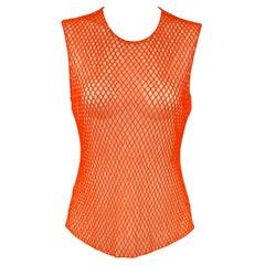 DRIES VAN NOTEN Size 6 Orange & Nude Polyester Mesh Beaded Sleeveless Dress Top