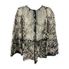 DRIES VAN NOTEN Size 6 Silver & Black Embroidered Silk Jacket
