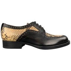 DRIES VAN NOTEN Size 7.5 Black Leather Beige Snakeskin Panel Brogues