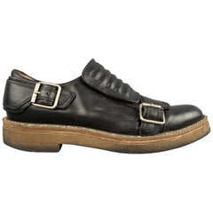 DRIES VAN NOTEN Size 8 Black Leather Quilted Strap Buckle Crepe Sole Loafers