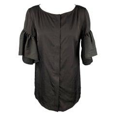 DRIES VAN NOTEN Size 8 Black Poplin Polyester / Silk Ruffled Blouse