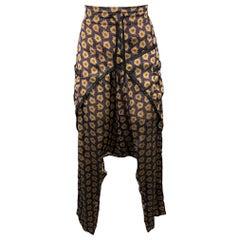 DRIES VAN NOTEN Size 8 Purple & Gold Viscose / Silk Drop-Crotch Casual Pants