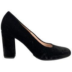 DRIES VAN NOTEN Size 8.5 Black Velvet Chunky Heel Pumps