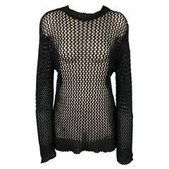 DRIES VAN NOTEN Size L Black Mesh Cotton Crew-neck Pullover