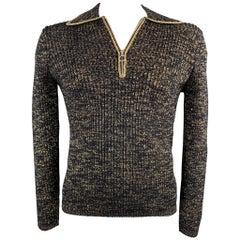 DRIES VAN NOTEN Size L Black & Metallic Gold Ribbed Knit Wool Blend Pullover