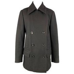 DRIES VAN NOTEN Size L Black Wool Blend Double Breasted Coat