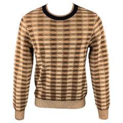 DRIES VAN NOTEN Size L Brown Knitted Cotton / Wool Crew-Neck Sweater