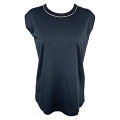 DRIES VAN NOTEN Size L Navy Jersey Cotton Rhinestone T-Shirt