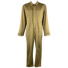DRIES VAN NOTEN Size L Olive Woven Cotton Buttoned Up Jump Suit