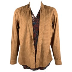 DRIES VAN NOTEN Size L Tan Window Pane Cotton / Cupro Vest Wrap Layered Shirt