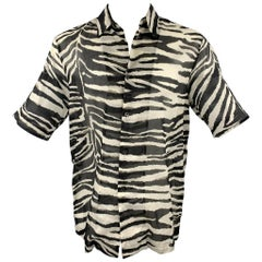 DRIES VAN NOTEN Size M Black & White Zebra Cotton Button Up Short Sleeve Shirt