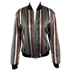 DRIES VAN NOTEN Size M Grey & Navy Stripe Wool Blend Zip Up Jacket