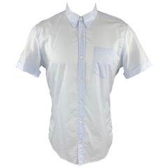 DRIES VAN NOTEN Size M Light Blue Cotton Button Up Patch Pocket Cuffed Shirt