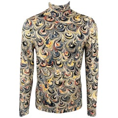 DRIES VAN NOTEN Size M Multi-Color Abstract Viscose Turtleneck Pullover