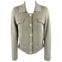 DRIES VAN NOTEN Size M Silver & Gold Sparkle Knit Collared Cardigan