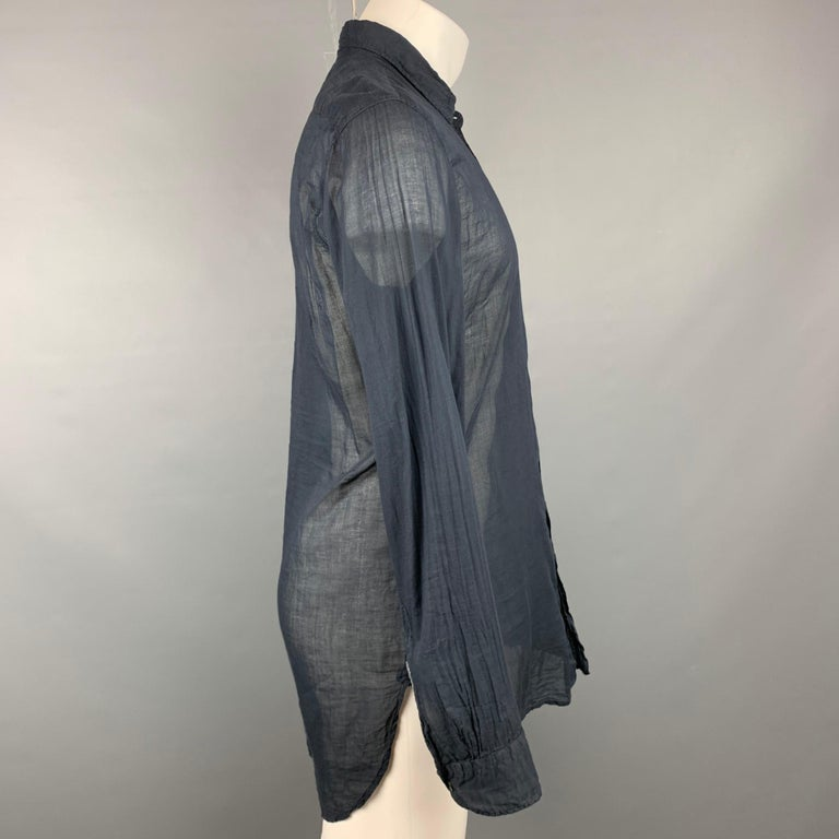 DRIES VAN NOTEN long sleeve shirt comes in a black see through cotton featuring a button up style and a spread collar.  Very Good Pre-Owned Condition. Marked: 48  Measurements:  Shoulder: 18 in. Chest: 41 in. Sleeve: 27 in. Length: 34.5 in.