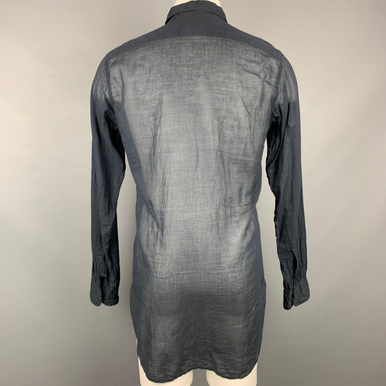 DRIES VAN NOTEN Size S Black Cotton Button Up Long Sleeve Shirt In Good Condition For Sale In San Francisco, CA