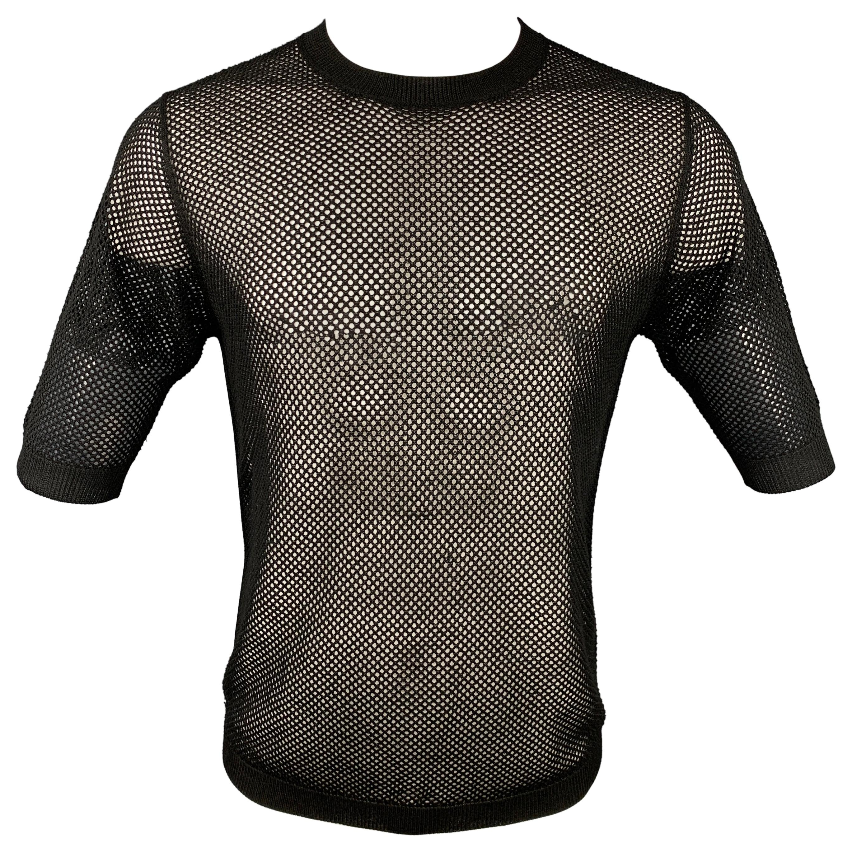 DRIES VAN NOTEN Size S Black Mesh Cotton Crew-Neck T-shirt