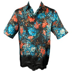 DRIES VAN NOTEN Size S Brown & Blue Floral Viscose Button Up Short Sleeve Shirt