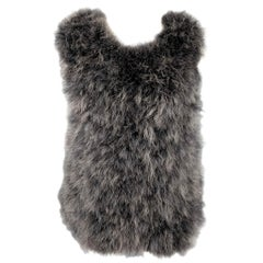 DRIES VAN NOTEN Size S Grey Feathers Oversized Pullover Vest