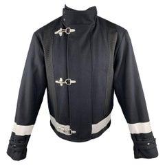 DRIES VAN NOTEN Size S Navy Solid Hook & Eye Jacket