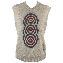DRIES VAN NOTEN Size S Silver Knitted Geometric Wool Blend Vest