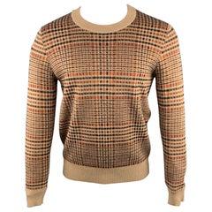 DRIES VAN NOTEN Size S Tan & Orange Plaid Wool Blend Crew-Neck Sweater