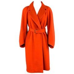 DRIES VAN NOTEN Size US 8 / FR 40 Orange Wool Notch Lapel Coat