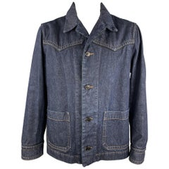 DRIES VAN NOTEN Size XL Indigo Contrast Stitch Denim Buttoned Jacket