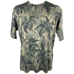 DRIES VAN NOTEN Size XL Olive Print Cotton Crew-Neck T-shirt