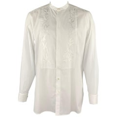 DRIES VAN NOTEN Size XL White Embroidery Cotton Nehru Collar Long Sleeve Shirt