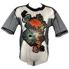 DRIES VAN NOTEN Size XS Black Tulle Silk Flower Applique T Shirt