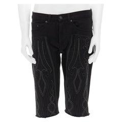 "DRIES VAN NOTEN SS15 black baroque embroidered cut off jeans denim shorts M 32"""