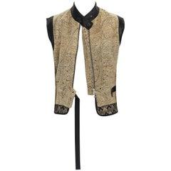 DRIES VAN NOTEN SS15 gold ethnic embroidered brocade harness vest top FR36 S