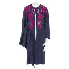 DRIES VAN NOTEN SS16 Ruth pink embroidered blue ruffle topper coat FR38 US4 S